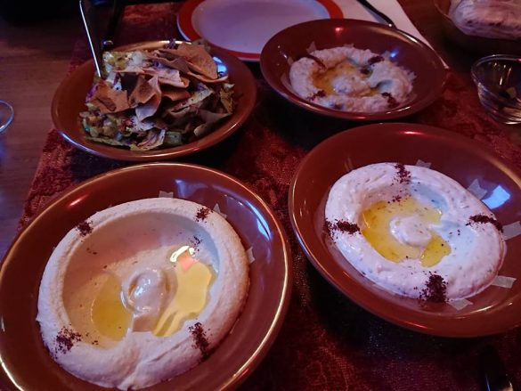Cold mezze with hommos, baba, labneh and fattouche