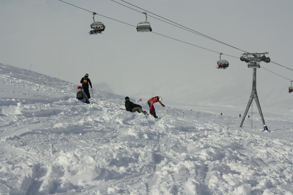 people in snowpark in Zermatt