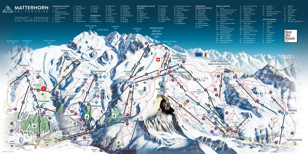 map of the slopes in zermatt