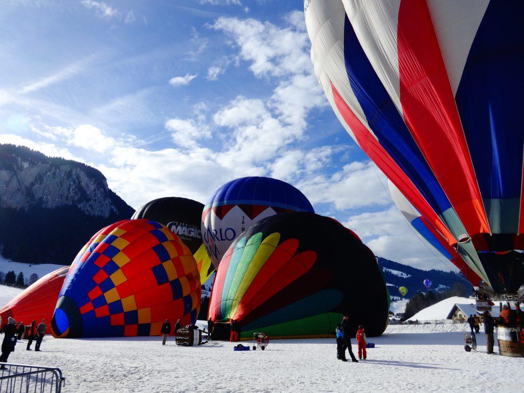 hot air balloons in Internation Hot Air Balloon Festival in International Hot Air Balloon Festival in Château-d'Oex