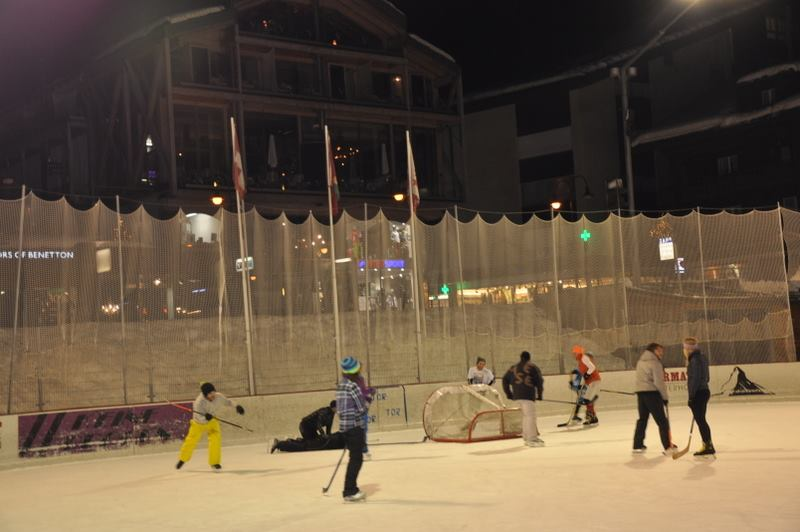 people playing hockey in zermatt