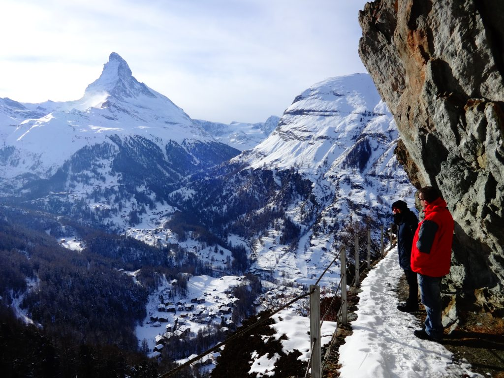 two people hiking in zermatt