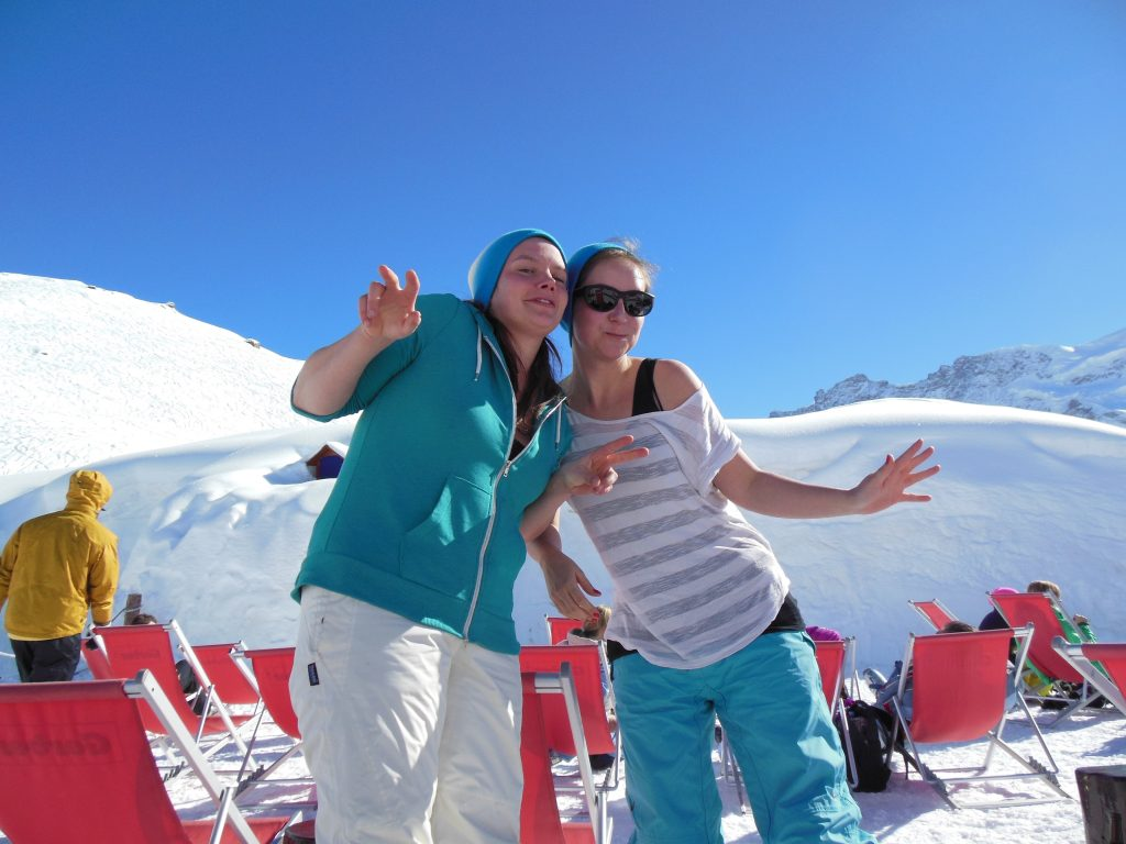 2 girls in igloo village in zermatt