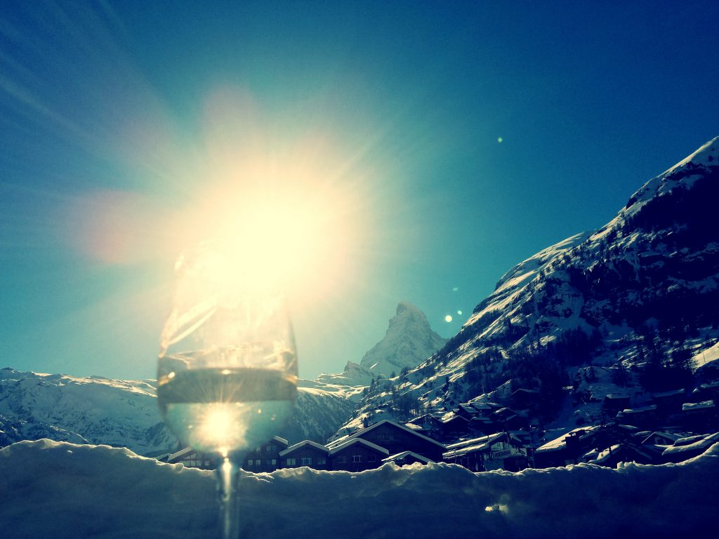 wine glass and matterhorn