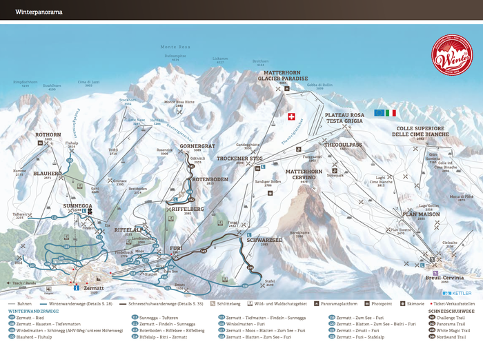 winter hiking map of zermatt
