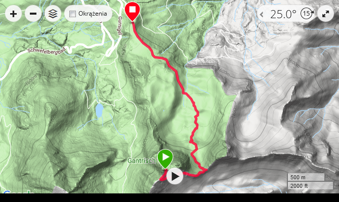 hiking map of via ferrata Gantrisch