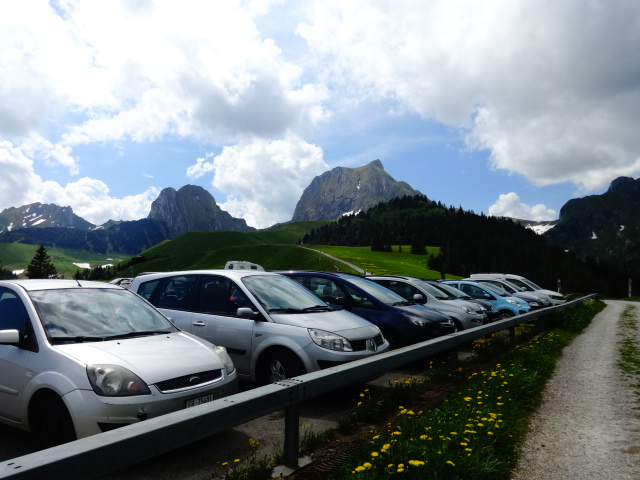 cars parked next to Gantrisch nature park