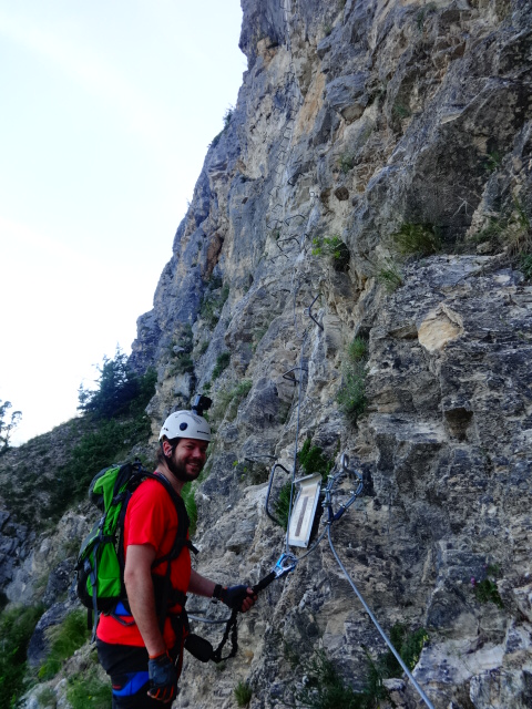 men on via ferrata