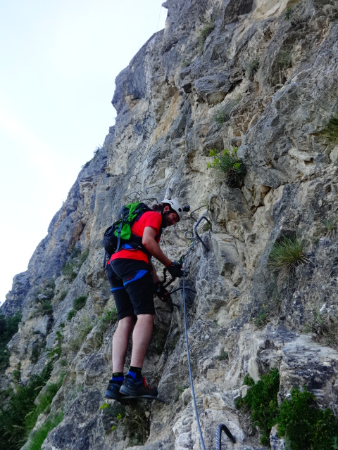 men climbing on Via Ferrata Nax