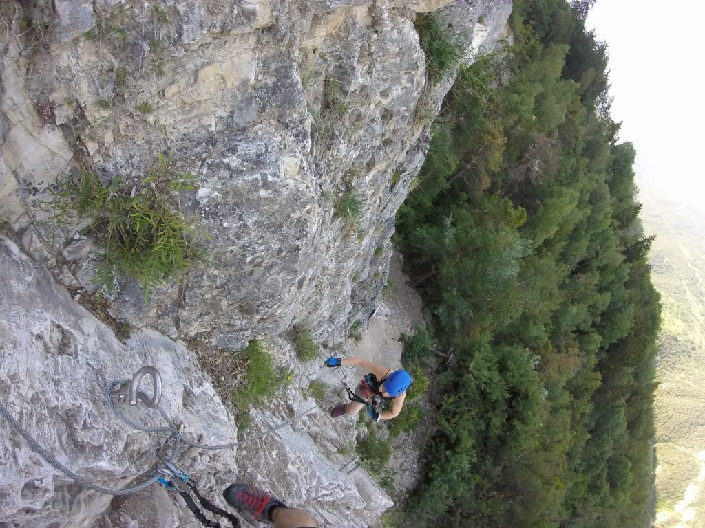 girl climbing on Via Ferrata Nax