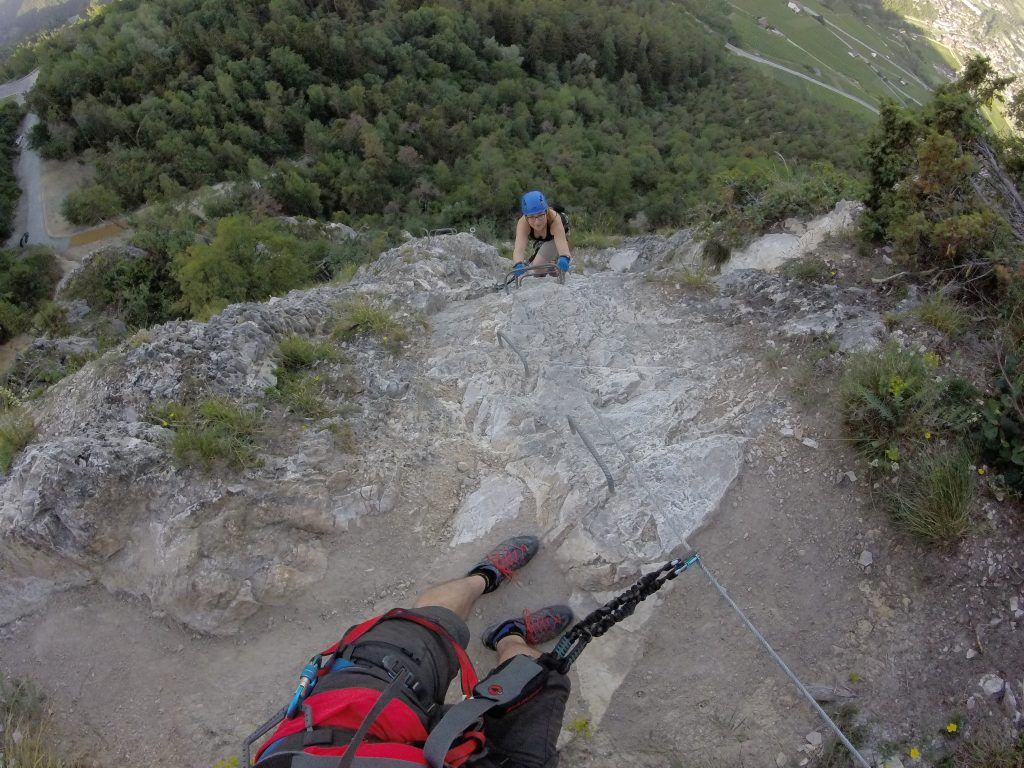girl climbing via ferrata