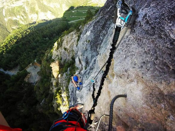 girl climbing via ferrata Nax