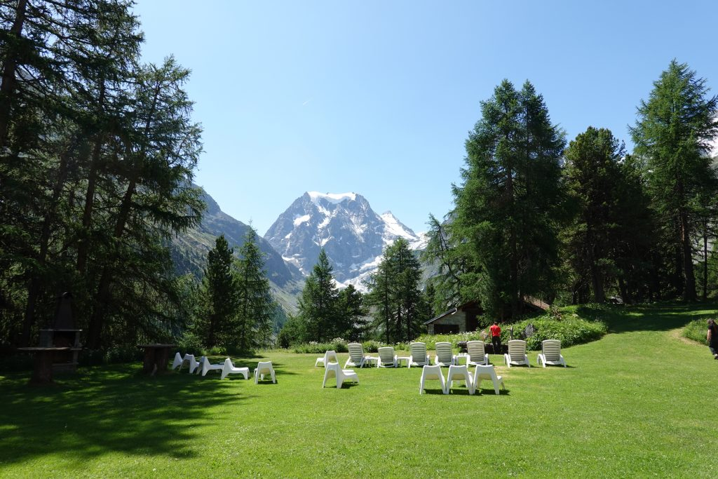 terrace of the hotel in arolla
