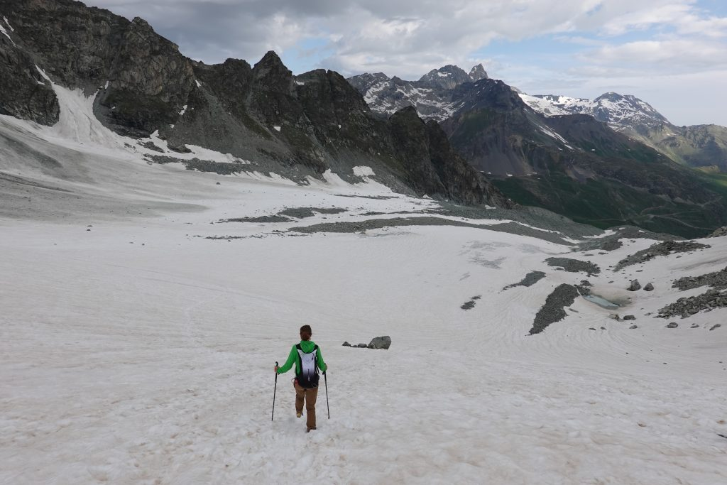 girl hiking on a glacier